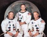 Astronauterne Neil Armstrong, Edwin 'Buzz' Aldrin og Michael Collins, som deltager i Apollo 11 projektet, som landsætter det første menneske på månen