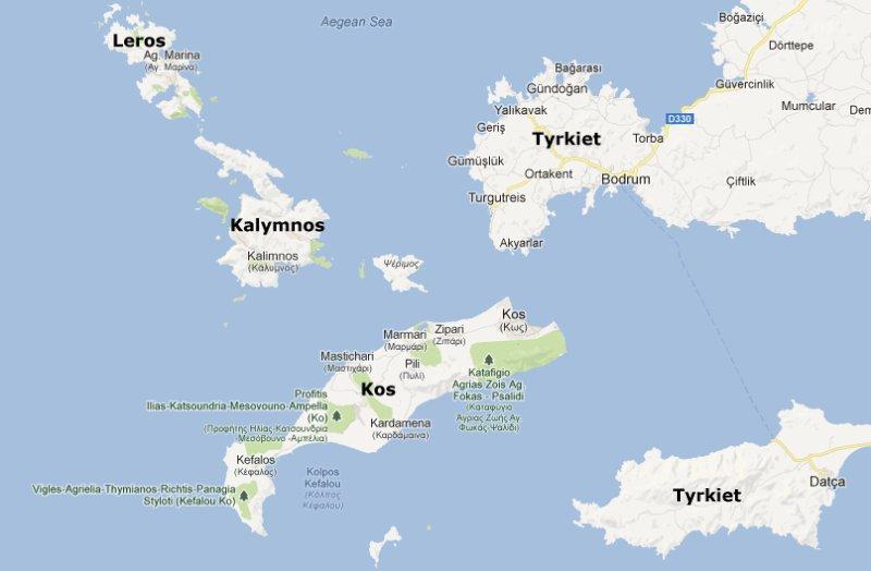 kort italien grækenland