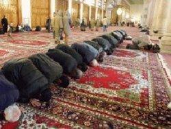 Muslimer fordybet i bøn i moskeen
